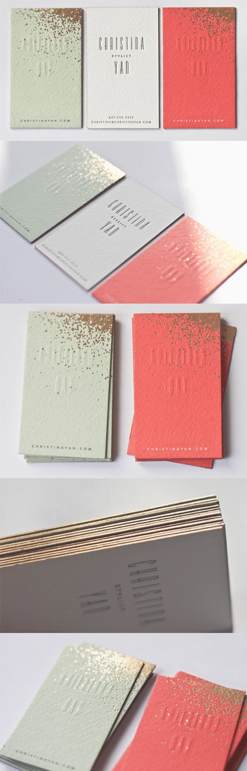 Simple, modern, minimalist letterpress business card with gold. Design inspiration.
