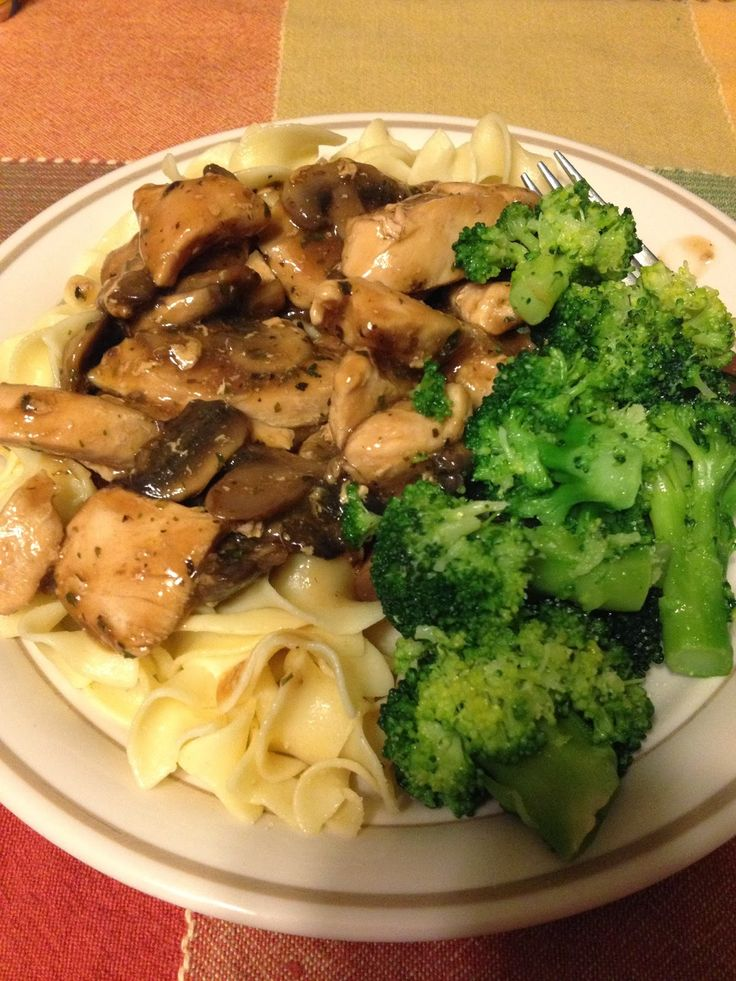 Weight Watcher Friendly Chicken Marsala with Mushrooms over Noodles