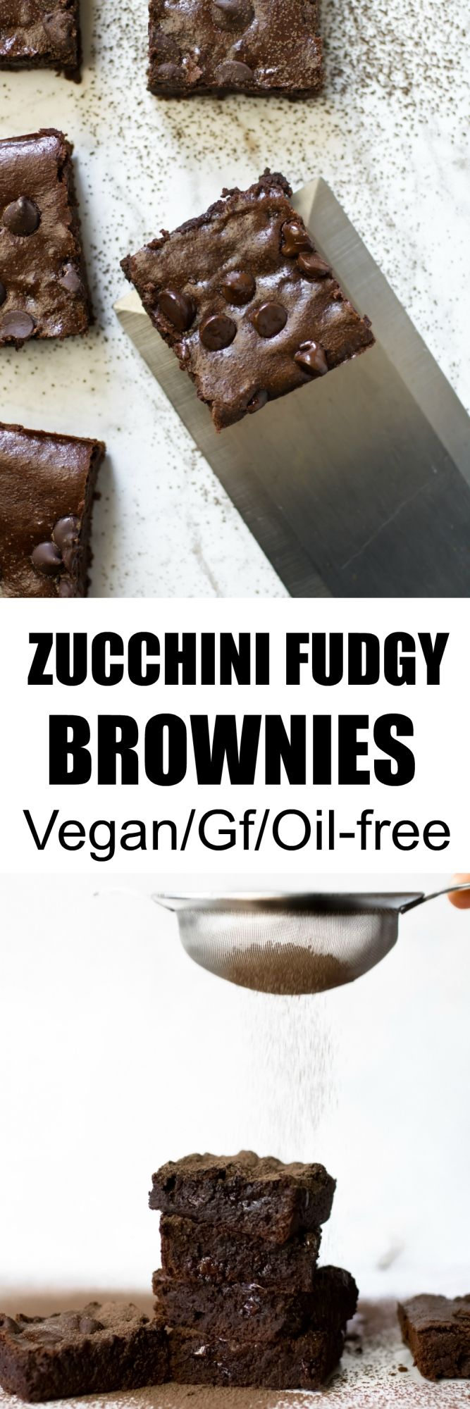 Make these amazing Vegan and Gluten-free Zucchini Fudgy Brownies with just 7 ingredients! Oil-free, so rich, decadent and fudgy...nobody would ever know there is a hidden veggie! via @thevegan8