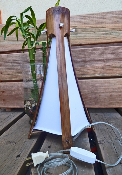 """""""GUADUA"""" Big bamboo Lamps from Colombia! $45. with fabric and Plug in switch"""