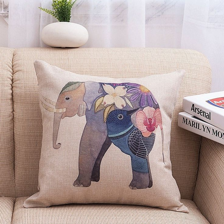 Elephant Cotton linen Pillow Case For office/bedroom/chair seat cushion 18x18 inches