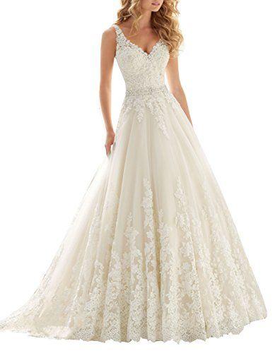 Datangep Women's Double V-Neck Lace Applique Empire Chapel Train Wedding Dress #Wedding-Dresses http://www.weddingdealusa.com/datangep-womens-double-v-neck-lace-applique-empire-chapel-train-wedding-dress/14680/?utm_source=PN&utm_medium=jillweddings+-+wedding+dresses&utm_campaign=Wedding+Deal+USA