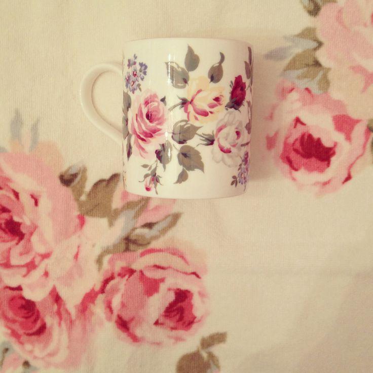 Laura Ashley floral mug and towel.