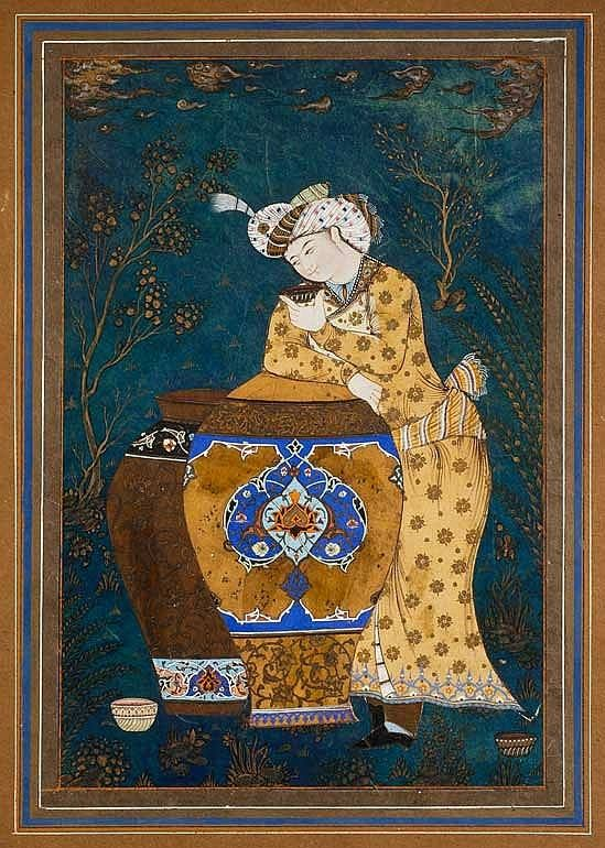 Echannon in a landscape, Iran, style qajar Painted leather panel, mounted in an album page with brown margins. A young cupbearer wearing a turban with an egret rests on two tall jars, a cup of wine in his hand. He stands in a landscape with gilded trees several cups at his feet. 34.2 × 22.8 cm