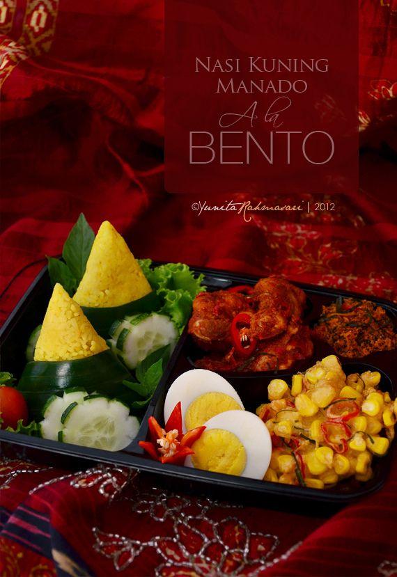 Indonesian Yellow Rice Bento - Nasi kuning Manado ala bento