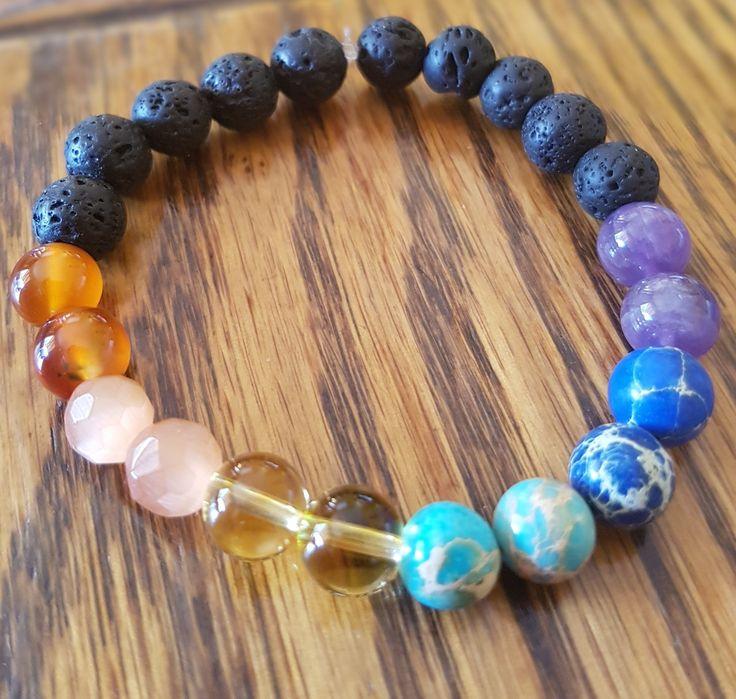 Piedra lava y 7 chakras: cuarzo púrpura, sedimento de mar azul y turqueza, citrino, ojo de gato naranjo y agata roja