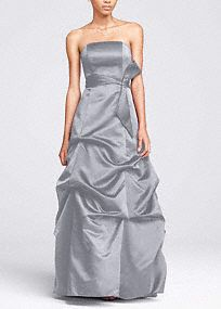 Strapless Satin Ballgown with Pick-up and Sash