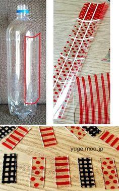 ●炭酸のペットボトル(1.5L)を用意し、画像の線のようにカットして油性ペンで柄を書きます。 ※水やお茶系のペットボトルではダメです。