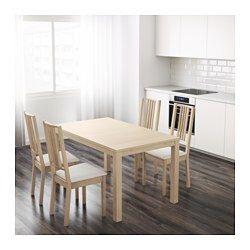 IKEA - BJURSTA, Uittrekbare tafel, Incl. 2 inlegbladen.Uittrekbare eettafel met 2 inlegbladen; biedt plaats aan 4-6 personen en zorgt dat je de grootte van de tafel naar behoefte kan aanpassen.Je kan de inlegbladen makkelijk bereikbaar onder het tafelblad opbergen.Het blank gelakte oppervlak is makkelijk af te nemen.