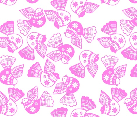 oiseaux rose fond blanc fabric by nadja_petremand on Spoonflower - custom fabric