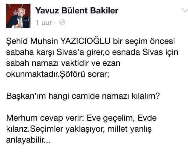 Bize  Muhsin Yazıcıoğlu' nun samimiyeti lazım...  Ruhuna bir FATIHA okuyalım... #NasılBirÜLKE