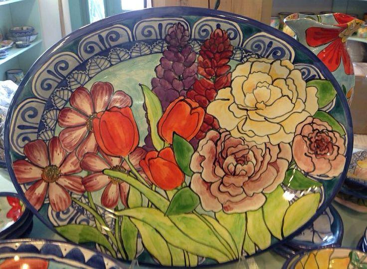 Damariscotta Pottery platter painted by Tessa