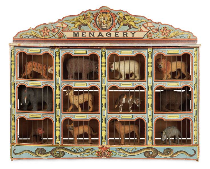 """German Wooden Toy """"Menagery"""" with Original Flocked Animals"""