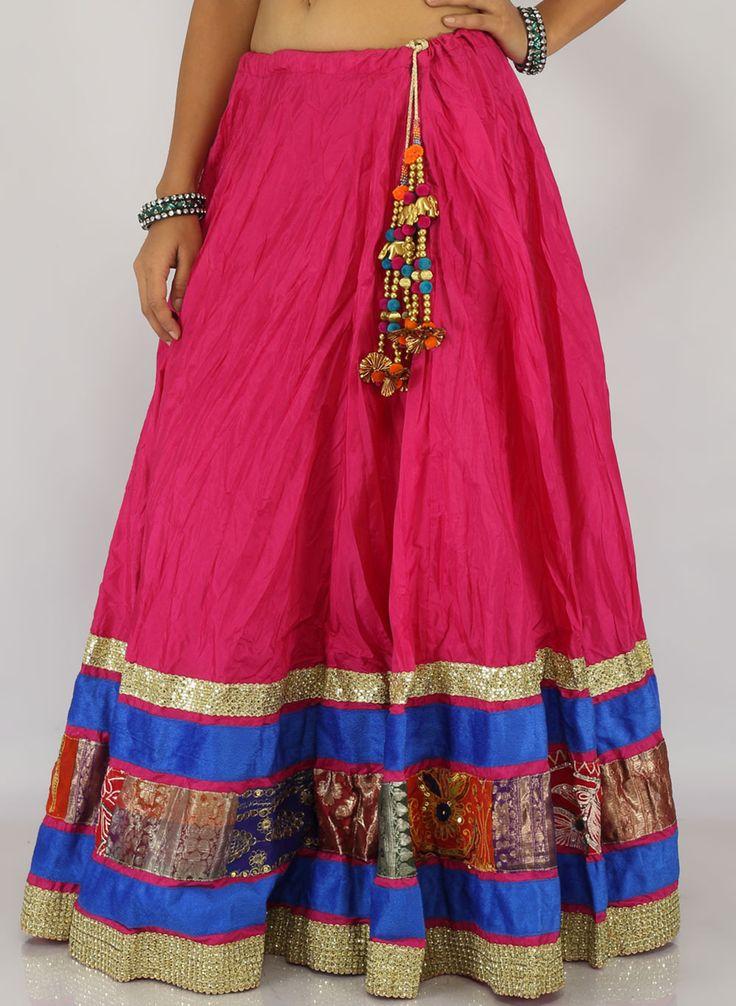Vedic Navratri Gujarati Chaniya Choli - Pink Lehenga only Buy Online