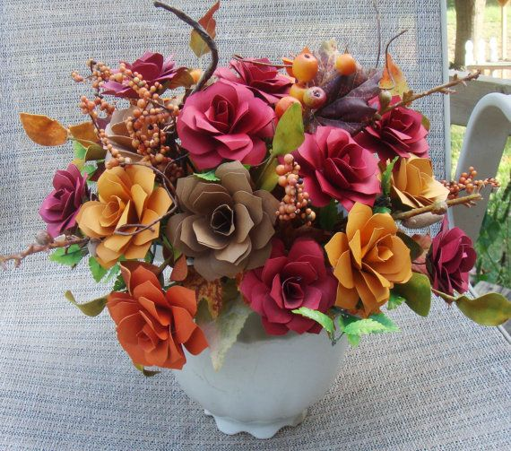 Paper Flower Arrangement In Fall Colors In An Ivory