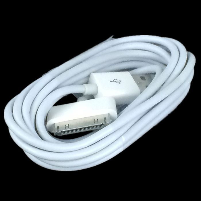 Free shipping 500pcs 2M 6ft white 2.0 USB Cable Sync Data Charging Adapter Cable for iphone 4 4s