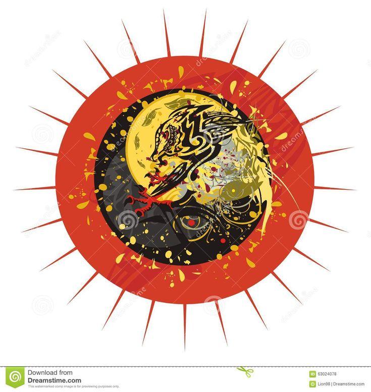 Grunge Dragon Sun Stock Vector - Image: 63024078