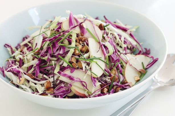 For a colourful and tasty twist on traditional slaw, use red cabbage and hazelnuts, and flavour it with a horseradish and honey dressing.
