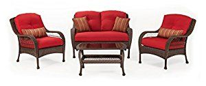 Amazon.com: La-Z-Boy Outdoor Bristol Resin Wicker Patio Furniture Conversation Set (Scarlet Red, 4 Piece):Two Lounge Chairs, Loveseat, Coffee Table With All Weather Sunsharp Cushions: Home & Kitchen