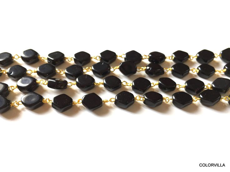 Natural Black Onyx Beads | Hexagon Shape Onyx | 24k Gold Plated | Onyx Beads  Black onyx | Onyx Gemstone | Rosary Onyx Chain For Jewelry by colorvilla on Etsy