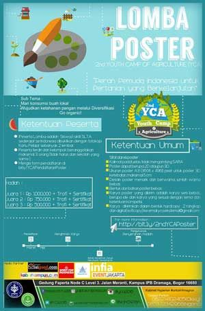 #LombaPoster #YCA #YouthCampOfAgriculture #IPB #Bogor Lomba Poster YCA 2016 2nd Youth Camp of Agriculture  DEADLINE: 16 Mei 2016  http://infosayembara.com/info-lomba.php?judul=lomba-poster-yca-2016-2nd-youth-camp-of-agriculture