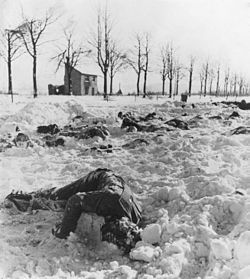 Bodies of U.S. officers and soldiers slain by the Nazis after capture near Malmedy, Belgium. - NARA - 196544.jpg