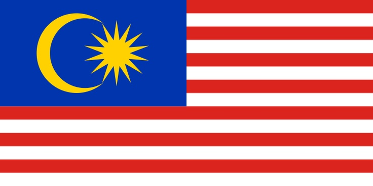 National flag of Malaysia from http://www.flagsinformation.com/malaysian-country-flag.html  14 equal horizontal stripes of red (top) alternating with white (bottom); there is a blue rectangle in the upper hoist-side corner bearing a yellow crescent and a yellow 14-pointed star; the crescent and the star are traditional symbols of Islam; the design was based on the flag of the US.