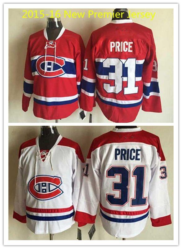 Сшиты дешевые мужские красный монреаль канадиенс 2015 - 16 новый премьер джерси белый # 31 кэри прайс хоккей джерси с галстуком