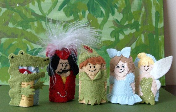 Peter Pan Finger Puppet Set by raindropstops on Etsy, $40.00