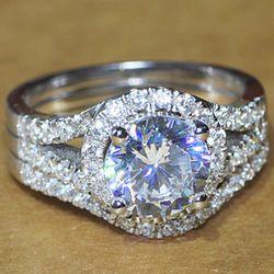 Online Shop Luxury quality CPP Brand 2 carat NSCD man made diamond wedding ring set for women,bridal set, engagement ring set,free shipping|Aliexpress Mobile