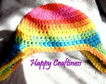 OOAK BABY EARFLAP Multicolor Bold Bright Rainbow Newborn 0-3months Hand Crochet Baby Gift Unisex Baby Birth/Christening Gift Baby Boy Girl - Edit Listing - Etsy
