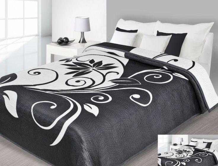 Modna narzuta dwustronna w kolorze czarnym z białym ornamentem