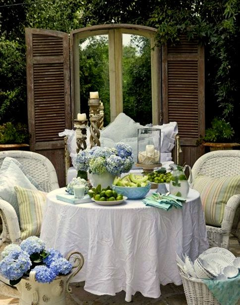 blue and greenAl Fresco Dining, Secret Gardens, Tables Sets, Outdoor Living, Outdoor Room, Outdoor Tables, Patios, Gardens Parties, Shutters
