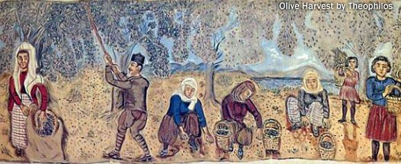 History of the olive oil ~ Painting: Olive harvest in Greece