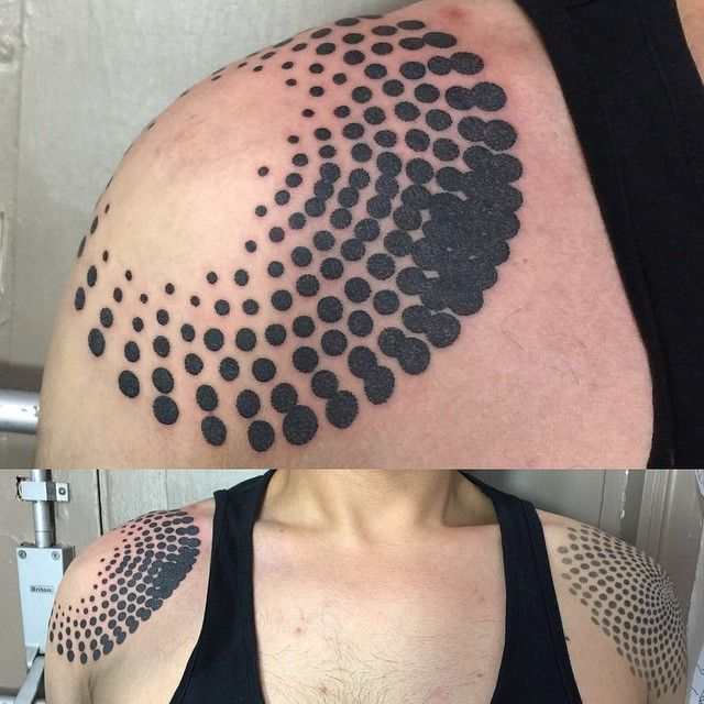 Dotwork by Tamara Lee, Fresh circles on @Jcianfrone done today...