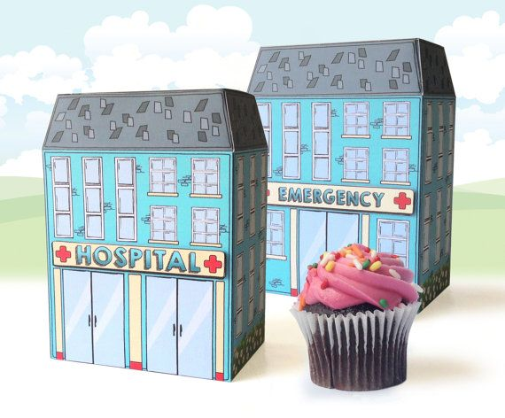 Nurse Party, Doctor Party, Nurse Graduation, Hospital Party, Doc McStuffins - Hospital Box Kit , Favor Box, Cupcake Box - DIY Printable PDF Kit - $7.99
