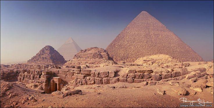 Al Ahram (pano) - Pyramids of Gizah, panorama of 7 portrait frames