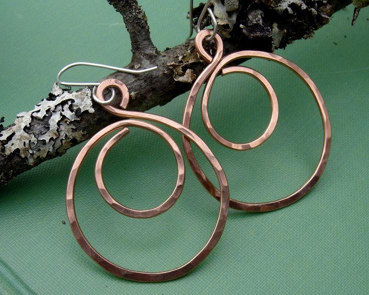 Big Copper Hoop Swirl Earrings - Hammered Hoop Earrings - Gift for Her, Copper Jewelry, Copper Earrings, Hoops, Teen Girl, Women
