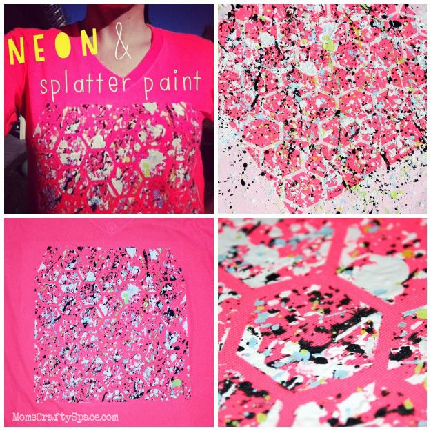 80's Inspired Splatter Painted Shirts ~ Mom's Crafty Space