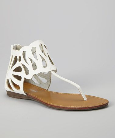 Loving this White Laser Cutout Lory Sandal on #zulily! #zulilyfinds