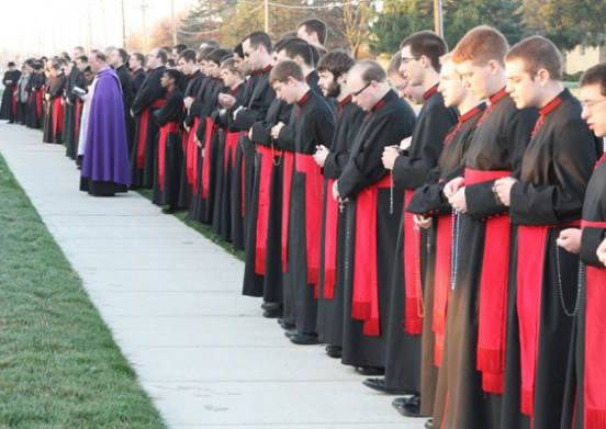 """U.S. seminary confronts abortion mill head-on through weekly prayer invasion - """"...in full regalia of a black cassock, a traditional red sash, and armed with a rosary..."""" Josephinum in Columbus, Ohio"""