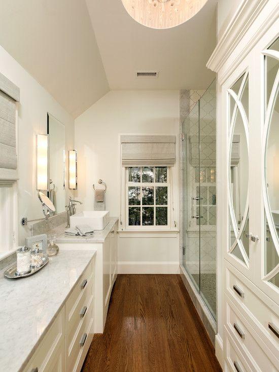 ensuite ann sacks tile arabesque white ceramic shower pale gray carrara marble countertops white vanity