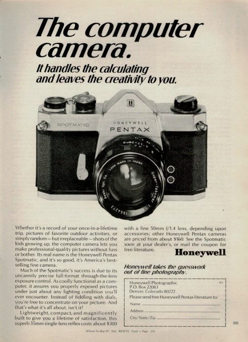 """An original 1969 Honeywell Pentax Spotmatic advertisement. Photo print of this camera, close up. Detailing on specs and costs, from less than $300. """"The computer camera. It handles the calculating and"""
