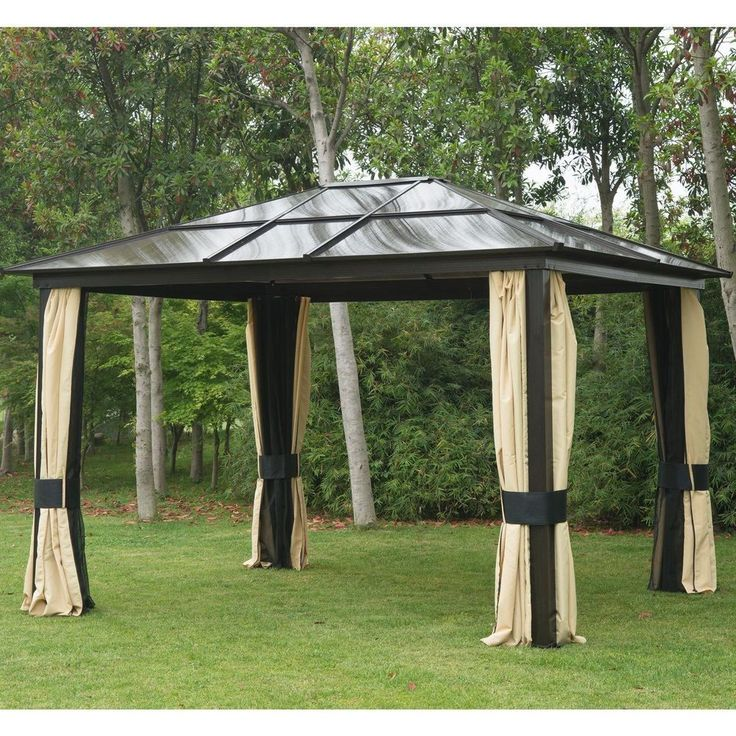 12 X10 Gazebo Canopy Net Hardtop Roof Aluminum Outdoor Patio Tent W/ Mesh  Walls