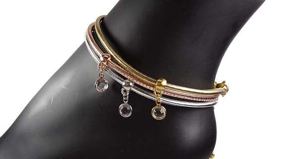 Silver Rose Gold Gold Leather Anklet Anklets for Women