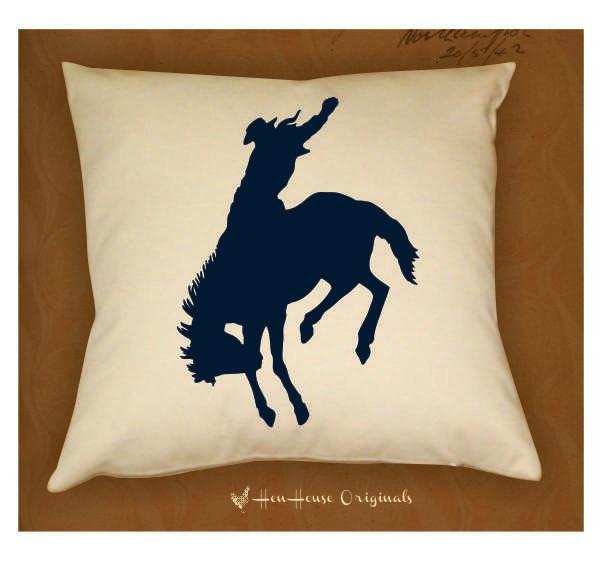 Cowboy Pillow Cover Western Bronco Horse 16 X 16. $24.00, via Etsy.