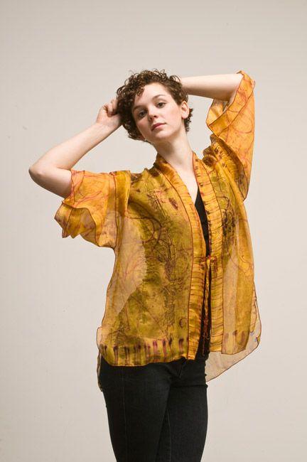Saffron Organza Kimono by Dianne Koppisch: Hand painted with fiber reactive dye, 100% organza silk, serged edge.