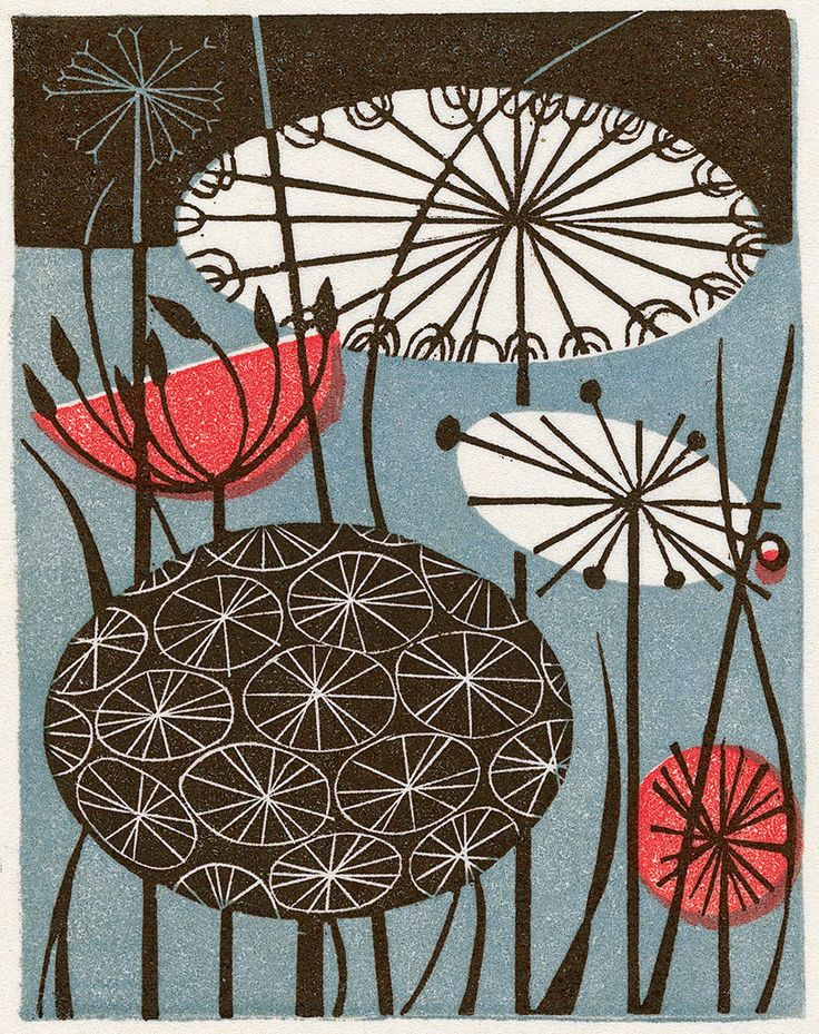 Clocks - a wood engraving by Angie Lewin http://www.angielewin.co.uk/products/clocks