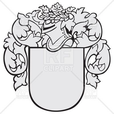 Coat of arms knight helmet. Medieval with knights and