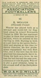 1935-36 W.D. & H.O. Wills Association Footballers #46 Sam Weaver  Back